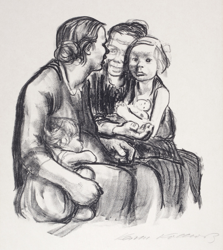 Two Gossiping Women with Two Children