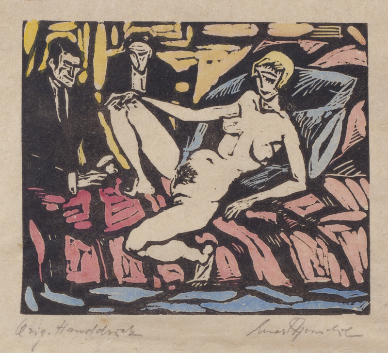 Female Nude with Two Men