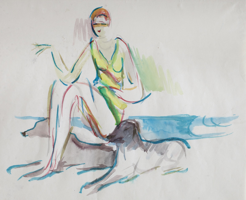 Fashion Drawing, Woman and a Dog