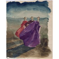 Three Robed Women in Red and Purple